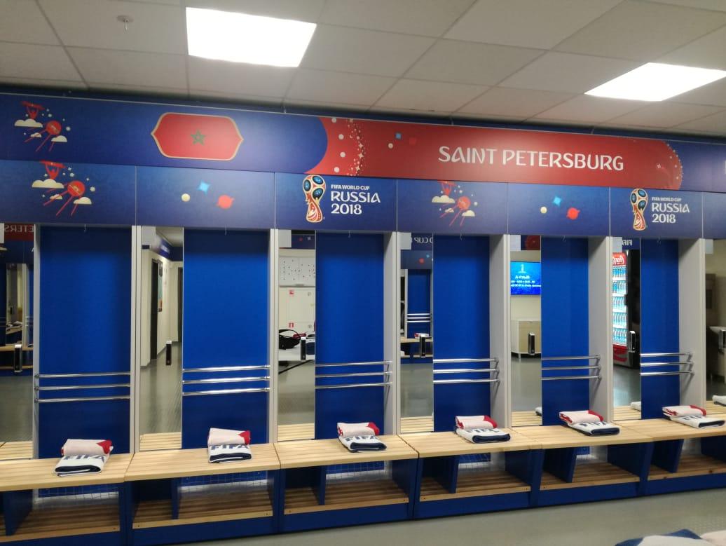 جام جهانی 2018 روسیه رختکن مراکش در ورزشگاه سنپترزبورگ برای دیدار با ایران+عکس