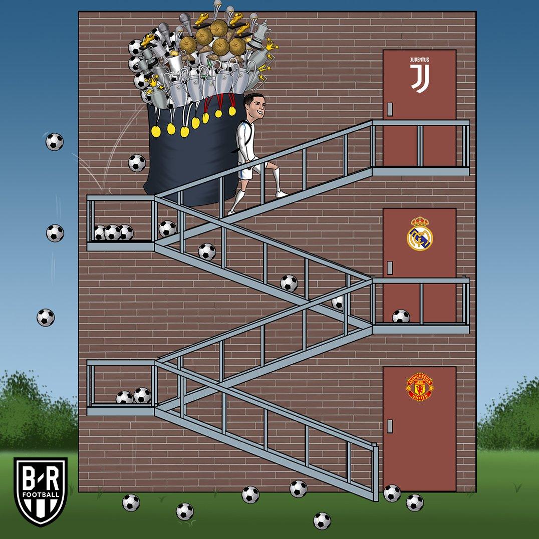 رونالدو با کوله باری از جام به یوونتوس رسید/کاریکاتور
